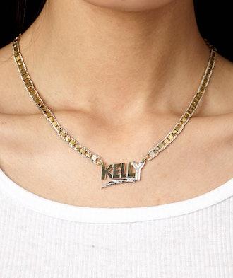Bolt Diamond Cut Nameplate Necklace