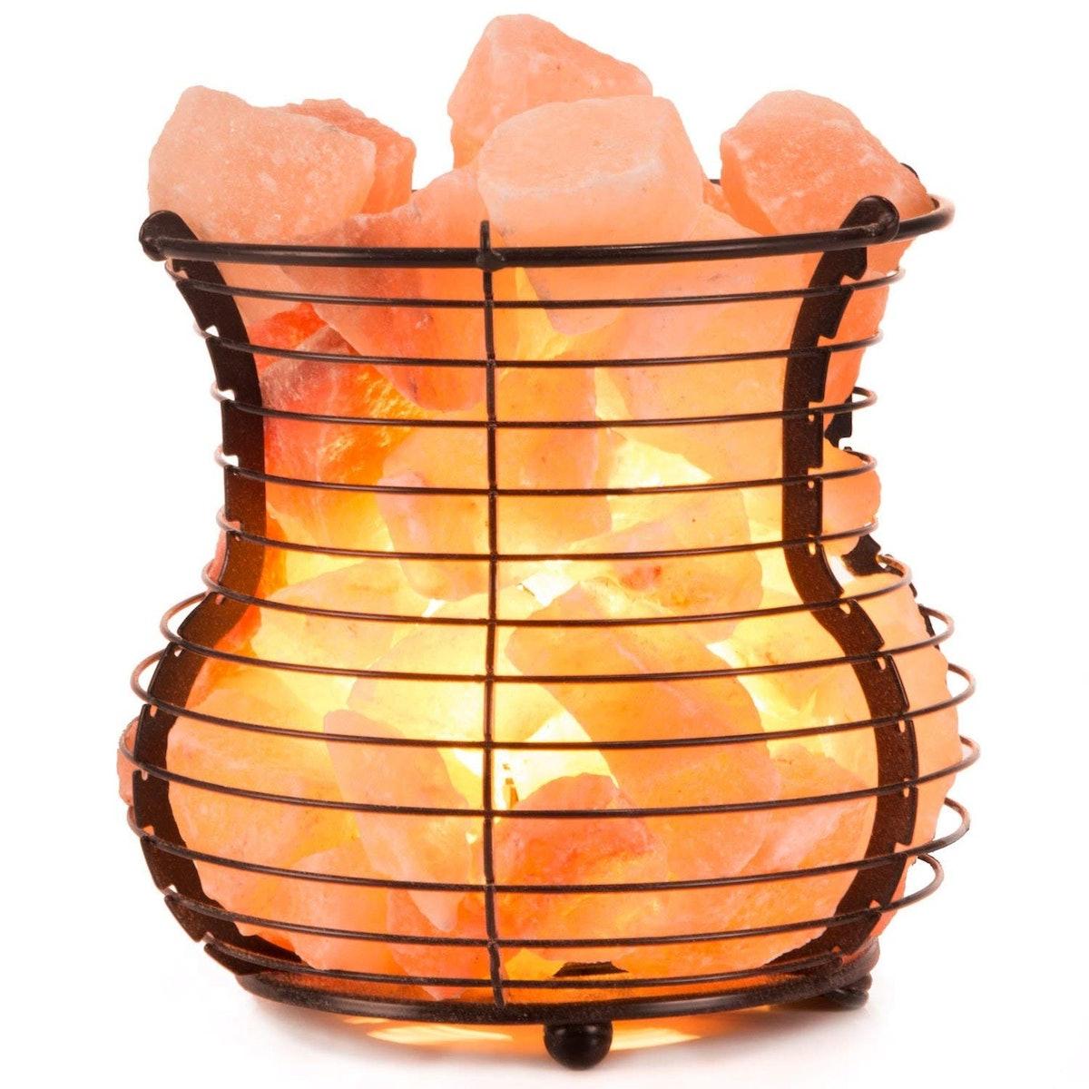 Crystal Allies Gallery Natural Himalayan Lamp And Mesh Basket