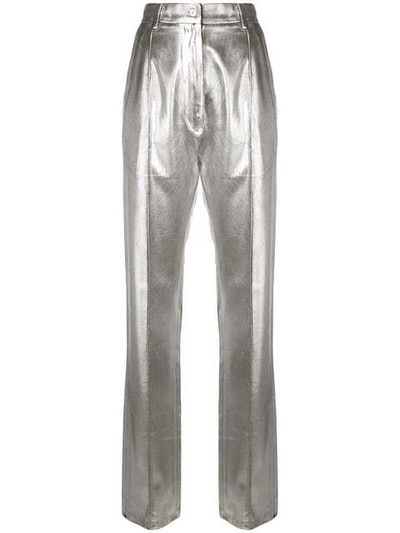 High-Waisted Metallic Trousers