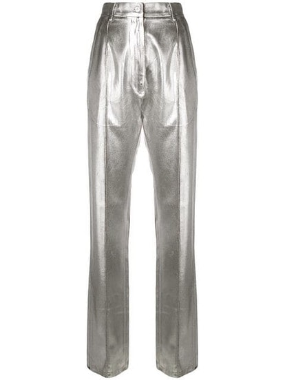 High-Waisted Metallic Trousers