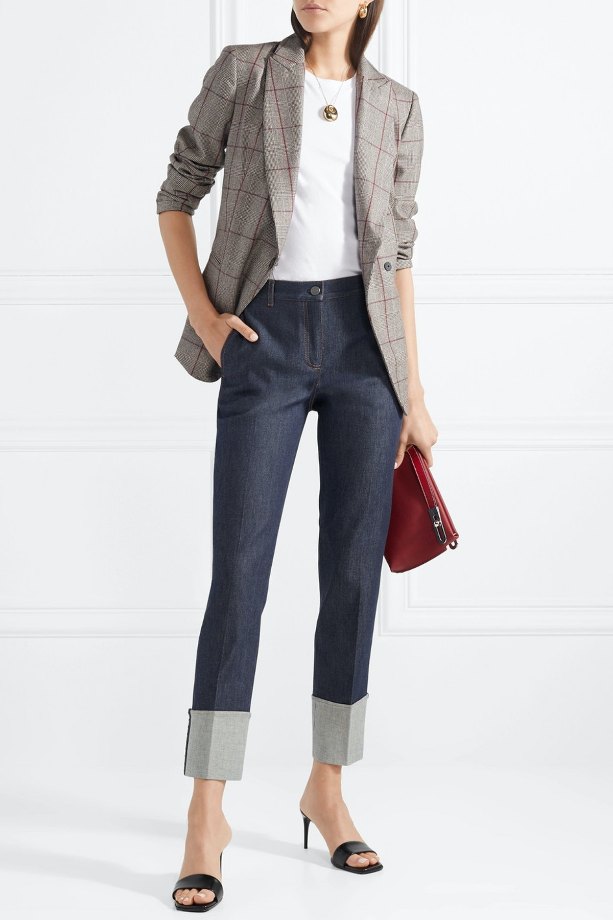 Leather-Trimmed High-Rise Straight-Leg Jeans