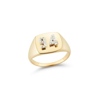 Double Pavé Number Signet Ring
