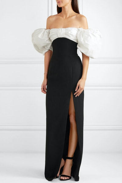 Off-the-Shoulder Crepe And Shantung Gown