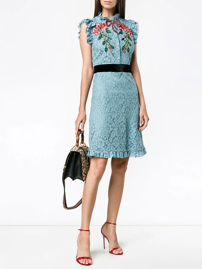 Embroidered Cluny Lace Dress
