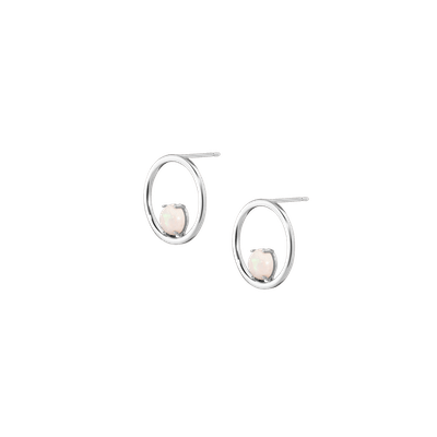 AUrate Simple Opal Hoop Earrings