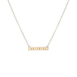 Mini Dog Tag Bar Necklace with 2 Diamonds