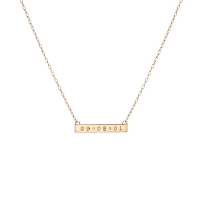 Mini Dog Tag Bar Necklace with 2 Diamonds