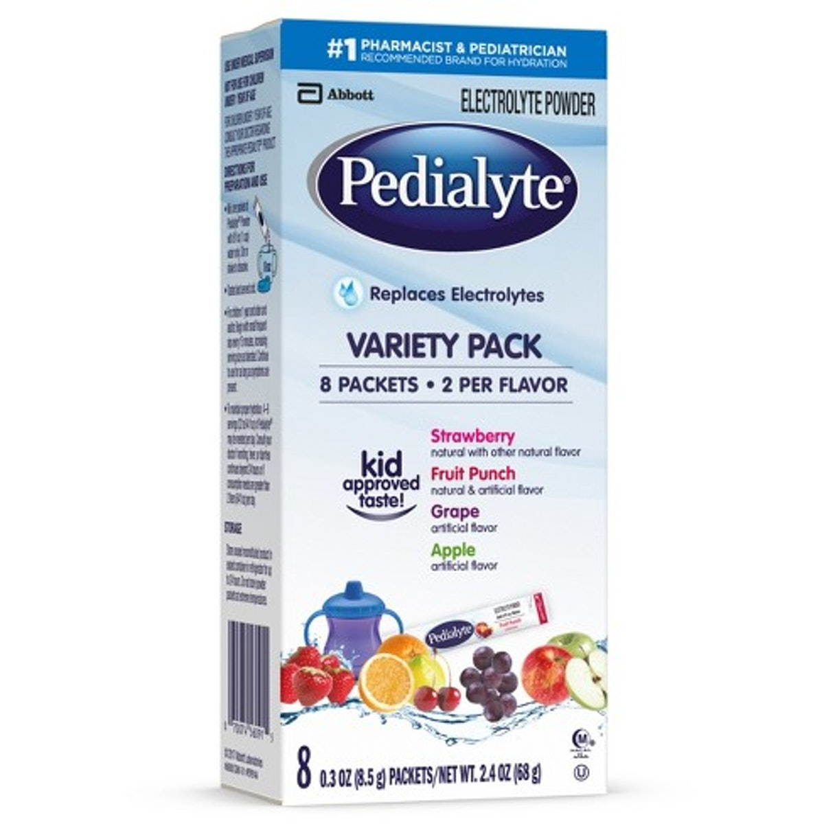 Pedialyte Oral Electrolyte Solution Powder, 8 Pack