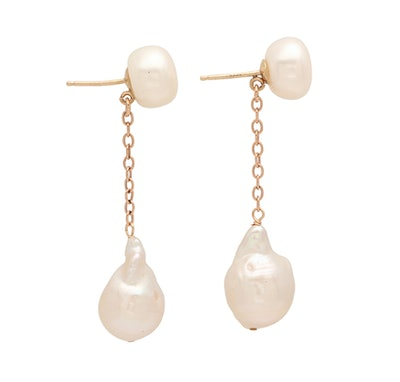 Double Pearl And Chain Earrings