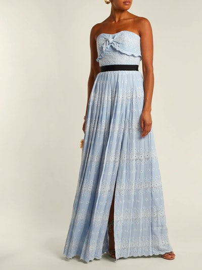 Strapless Floral Broderie-Anglaise Maxi Dress