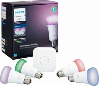 Philips - Hue White and Color Ambiance A19 LED Starter Kit - Multi
