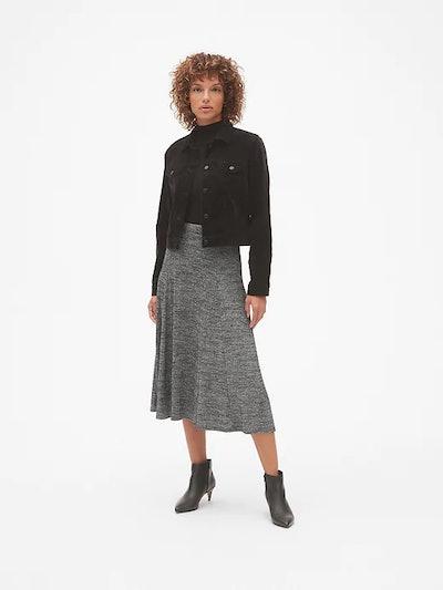 Softspun Metallic Midi Circle Skirt