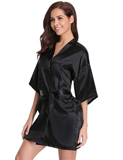The Bund Women's Pure Colour Short Satin Kimono