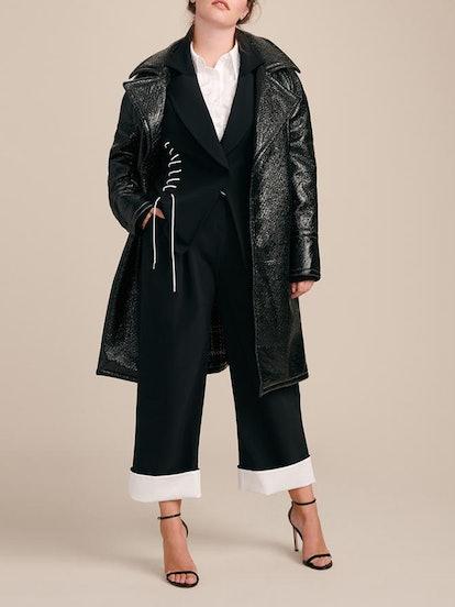 Oversized Laminated Texture Coat