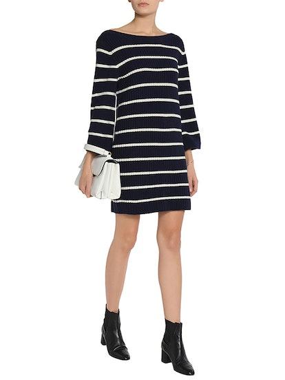 Ribbed Striped Merino Wool-Blend Mini Dress