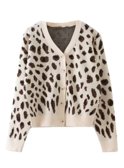 """Sage"" Leopard Print Button Down Furry Cardiagn'SAGE' LEOPARD PRINT BUTTON DOWN FURRY CARDIGAN"