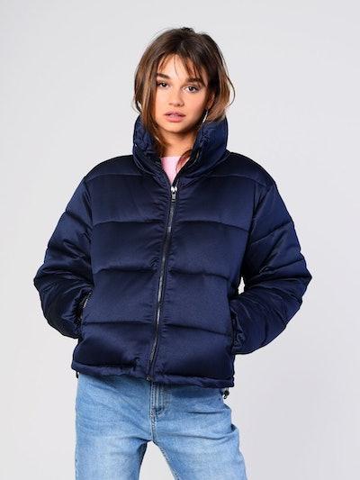 Navy Satin Padded Puffer Jacket