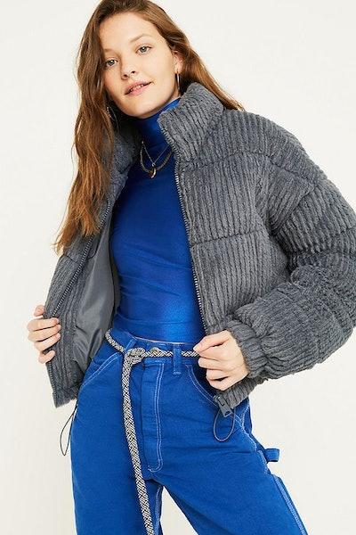 Charcoal Fluffy Corduroy Puffer Jacket