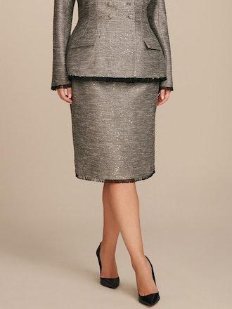Fringe Hem Pencil Skirt