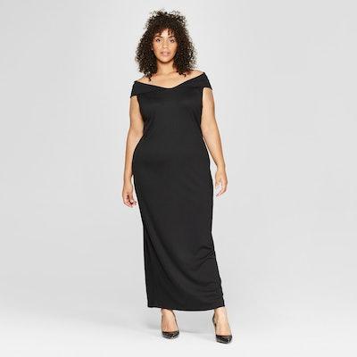 Women's Plus Size Off the Shoulder Knit Maxi Dress - Who What Wear™ Black