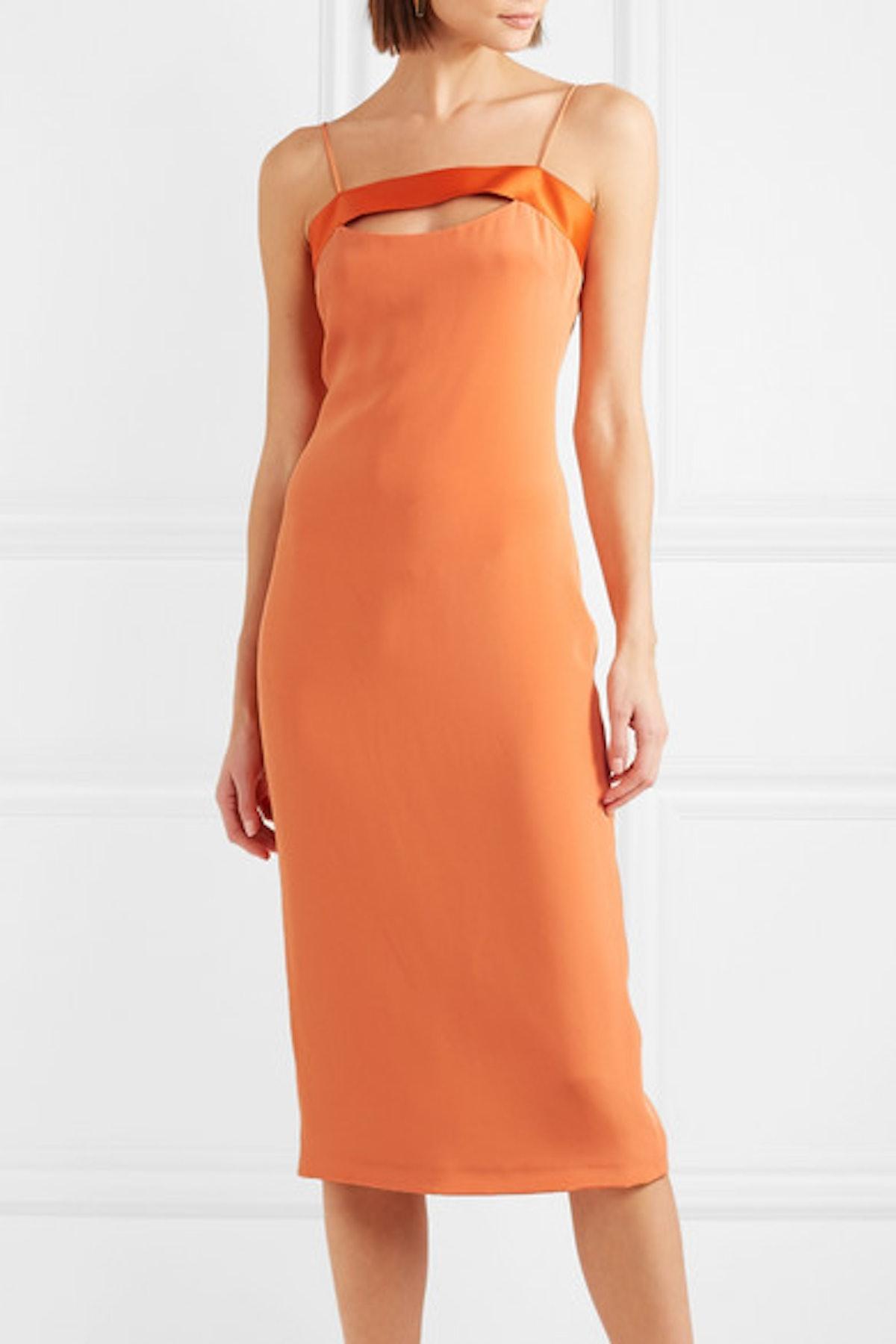 Mariela Cutout Satin-Trimmed Silk Dress