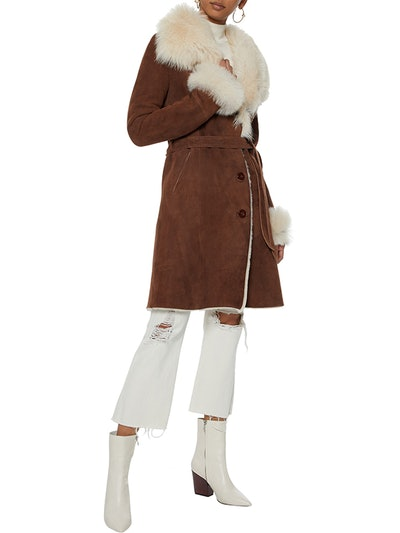 Belted Shearling Coat