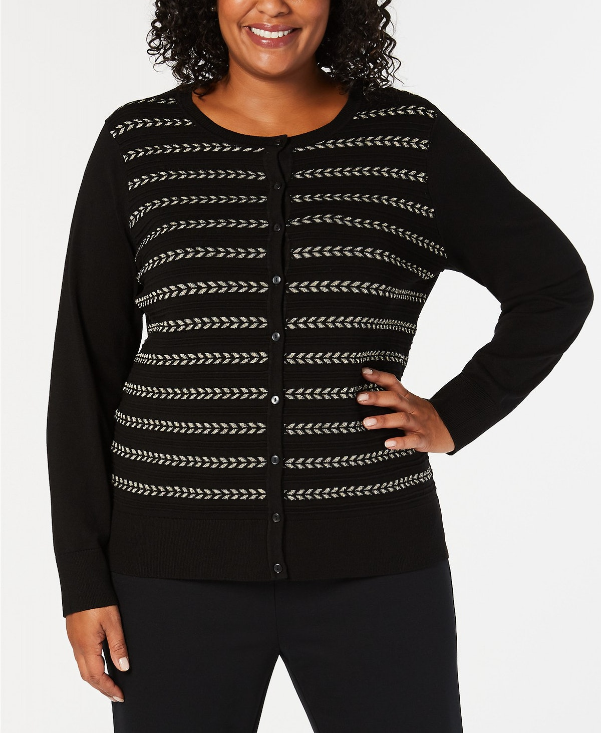 Charter Club Plus Size Lurex® Striped Cardigan, Created for Macy's