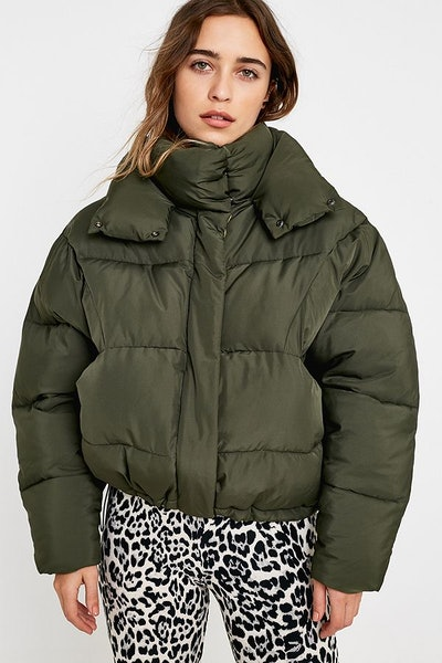 Khaki + Lime Contrast Lined Pillow Puffer Jacket
