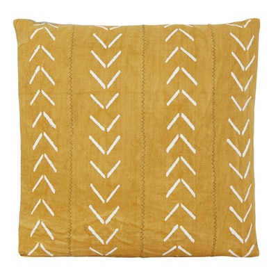 Kali One of A Kind Yellow Mudcloth Pillow