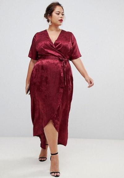 New Look Curve Jacquard Dress In Burgandy