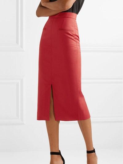 Stretch-Twill Midi Skirt