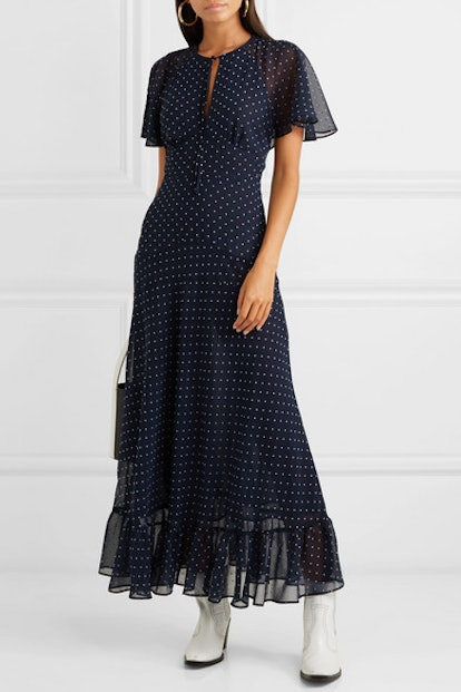 Cape-Effect Ruffled Polka-Dot Crepe Dress