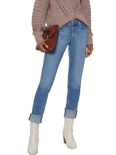 Dre Frayed Mid-Rise Slim-Leg Jeans