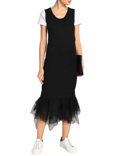 Tulle-Paneled Wool Midi Dress