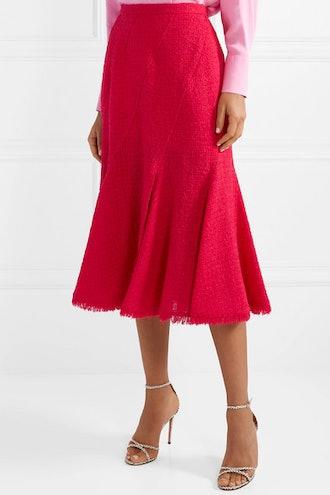 Frayed Wool-Blend Tweed Midi Skirt