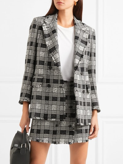 Frayed Checked Double-Breasted Wool-Blend Tweed Blazer
