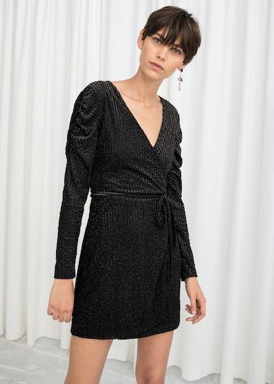 Glitter Stripe Velvet Wrap Dress