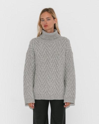 Nili Lotan Light Grey Melange Lee Sweater