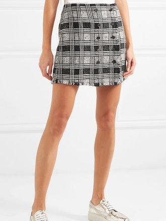 Frayed Checked Wool-Blend Tweed Mini Skirt