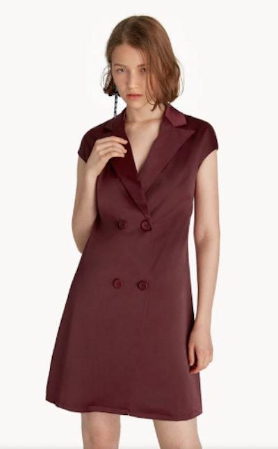 Mini Cap Sleeve Blazer Dress - Maroon