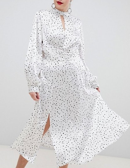 High Neck Twist Front 70s Sleeve Maxi Dress In Spot