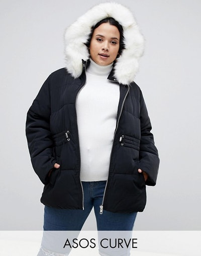 Curve puffer jacket with waist detail and faux fur hood