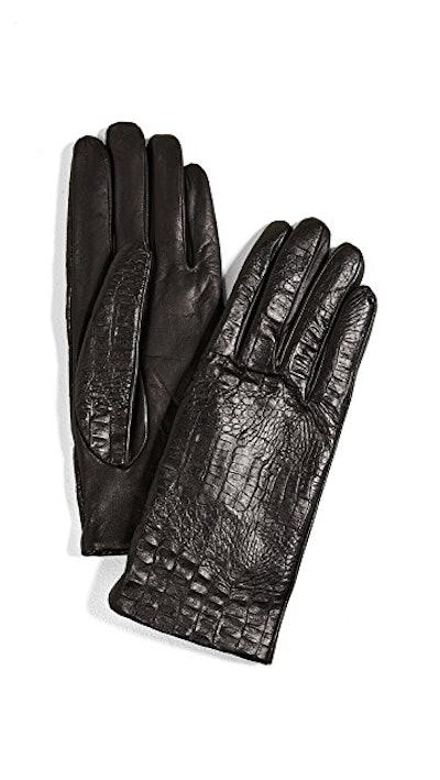 Carolina Amato Croc Leather Gloves