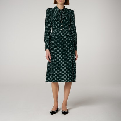 Mortimer Green Dotted Silk Dress