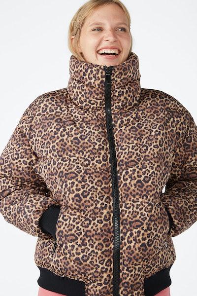 Puffer Jacket in Leopard Print
