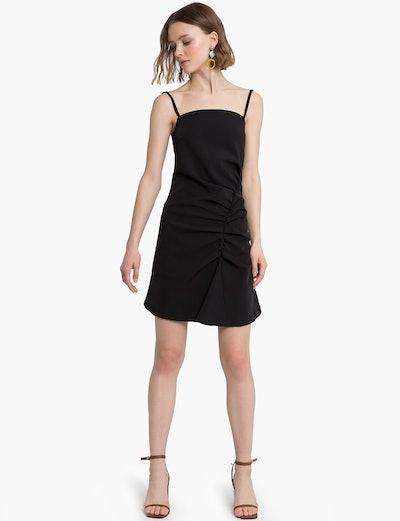 Ava Black Asymmetric Ruched Dress