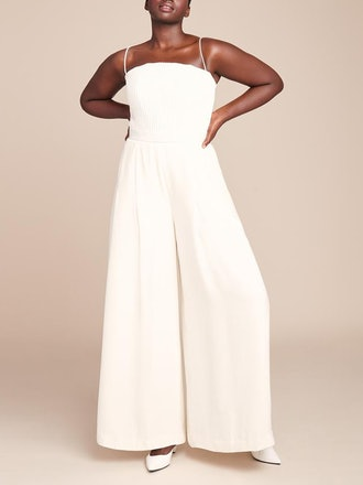 Strapless Ribbed Bodice Jumpsuit
