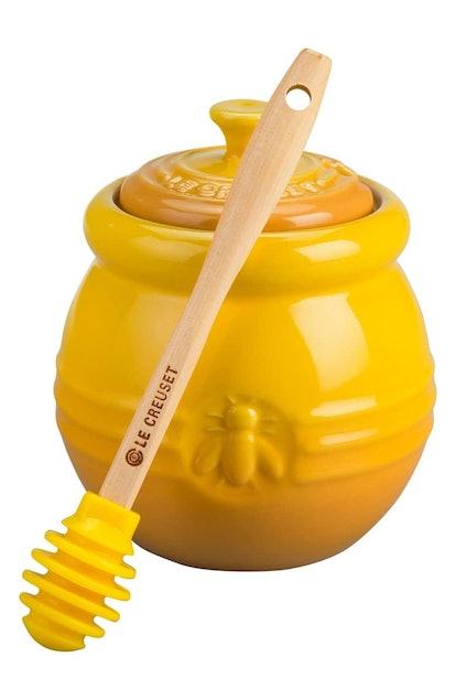 Le Creuset Stoneware Honey Pot & Dipper in Dijon
