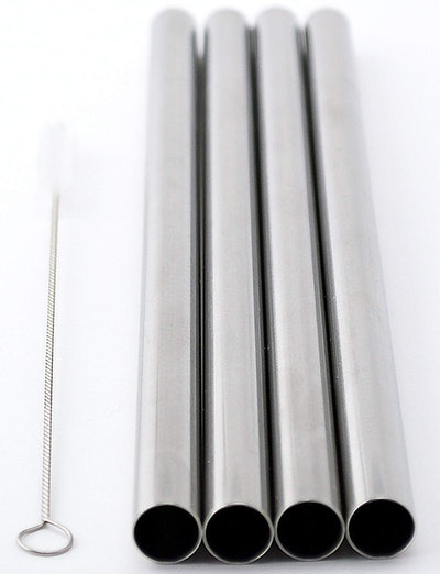 Coco Straw Extra Wide Stainless Steel Straws (4 Pack)
