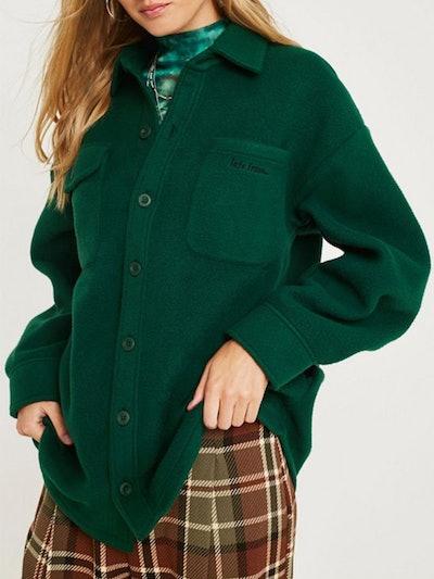 Longline Fleece Button-Through Shirt